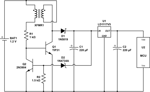 Example of a schematic circuit diagram