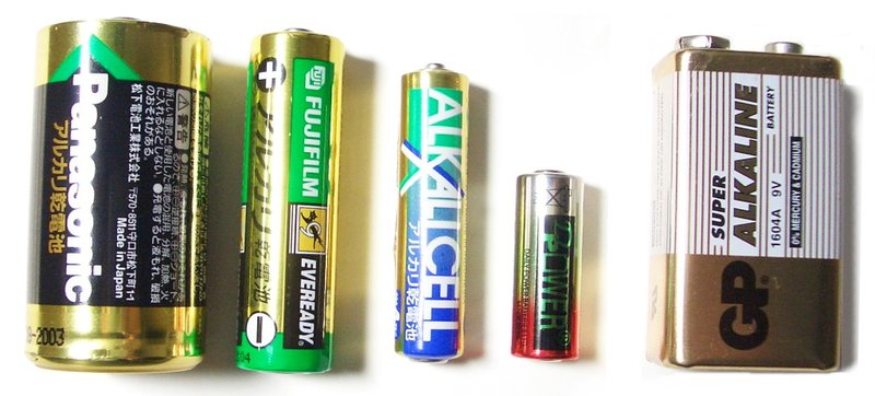 Alkaline batteries come in a wide variety of sizes.