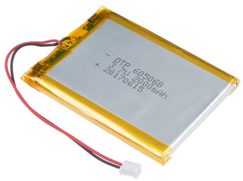 Lithium-polymer battery.  Note the small embedded PCB with protection circuitry
