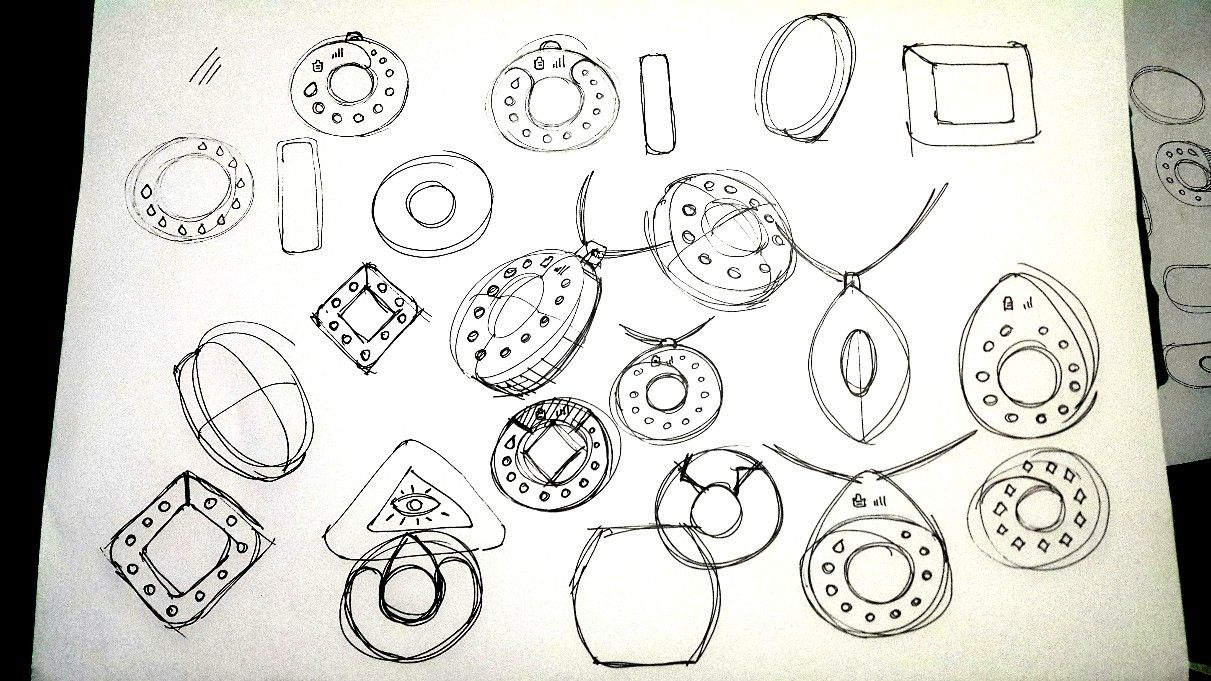 Initial sketches of LED indicator light ideas