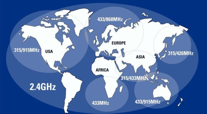 World map of available wireless frequency bands
