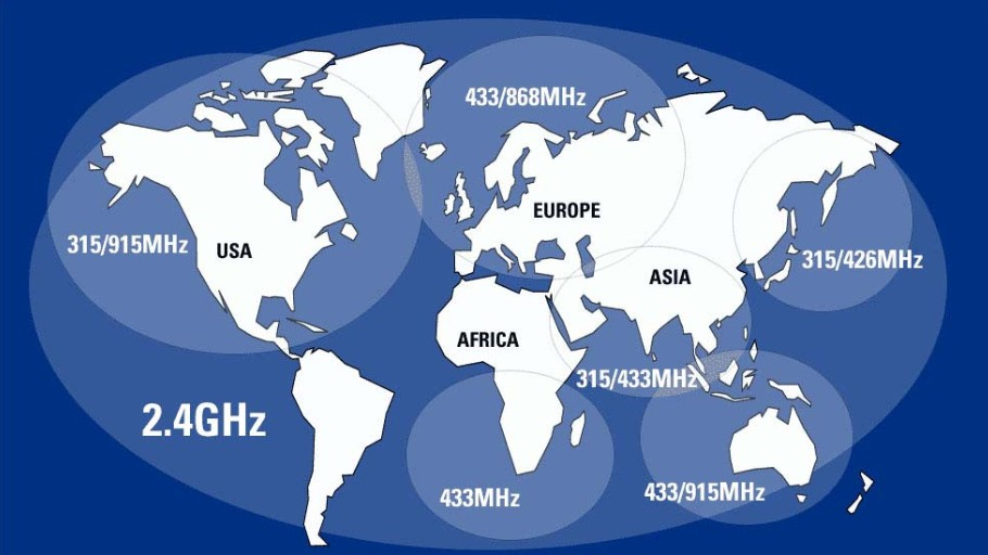World map of available wireless frequency bands1