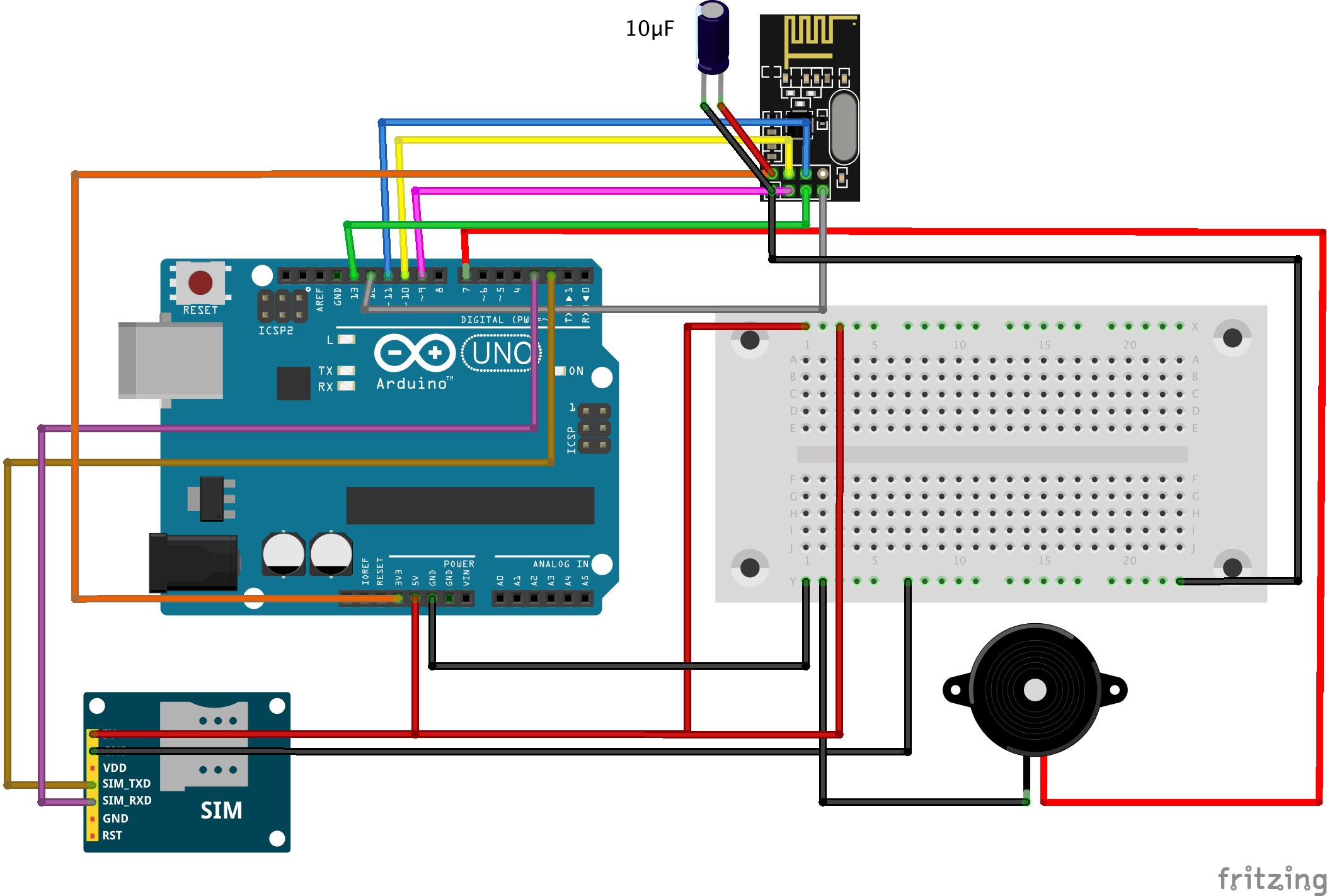 As you can make out from the above sketch, I have connected the Tx and Rx  of the SIM900A module with digital pins 2 and 3 of the Arduino respectively.