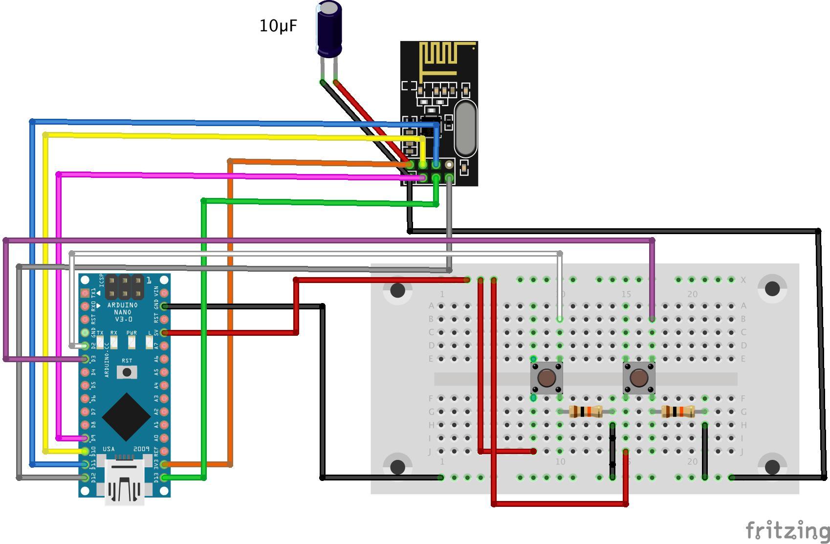How To Build A Gsm Cellular Panic Alarm Using An Arduino Simple Push Button Switch Wiring Diagram As You Can Make Out From The Sketch I Have Connected Nrf24l01 In Same Fashion Controller With Only Difference Being That Ive Used