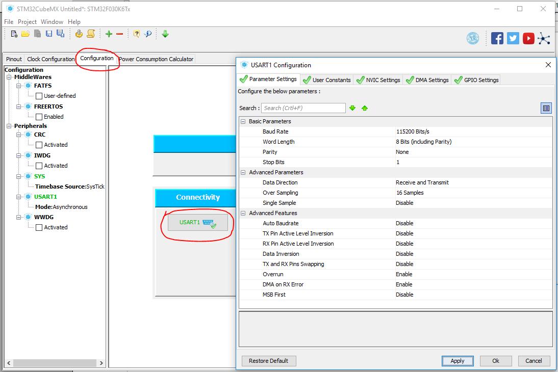 screenshot showing how to configure UART settings STM32CubeMX