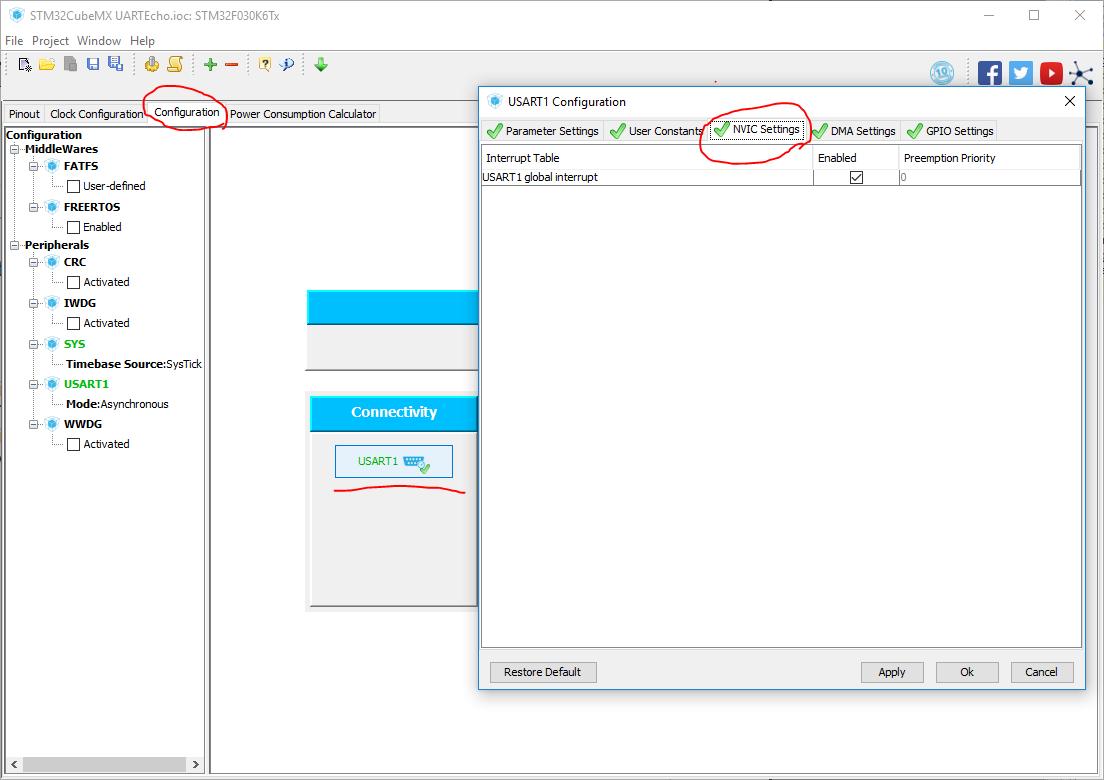 screenshot configuring interrupt STM32CubeMX