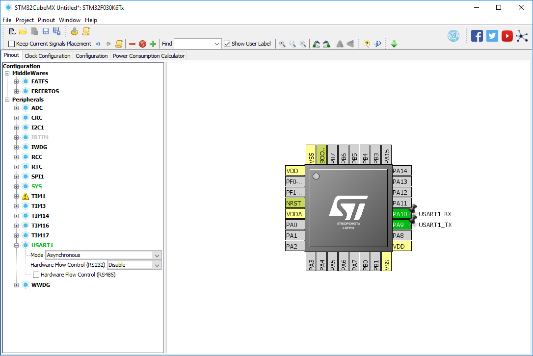 screenshot showing the pinout for STM32F030K6 in STM32CubeMX