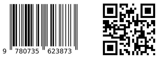Examples of a UPC bar code (left) and QR code (right).