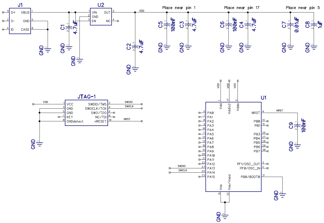 Schematic circuit diagram for microcontroller circuit