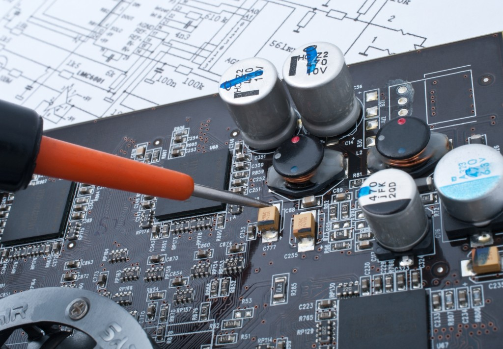 Electrical engineer working on PCB