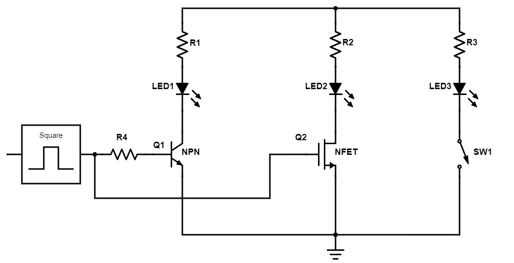 Transistor LED driver switches