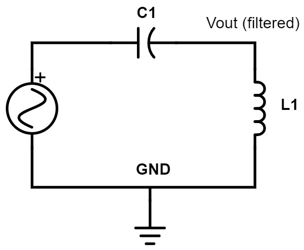 Electronic circuit: High-pass LC filter