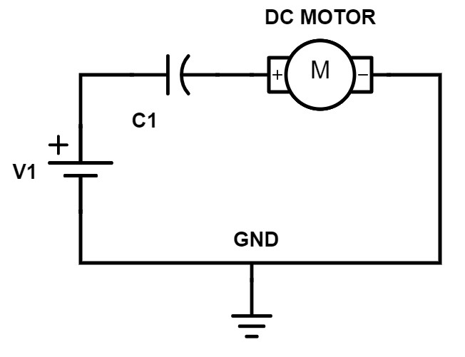 Electronic circuit: Voltage source + capacitor with motor in series