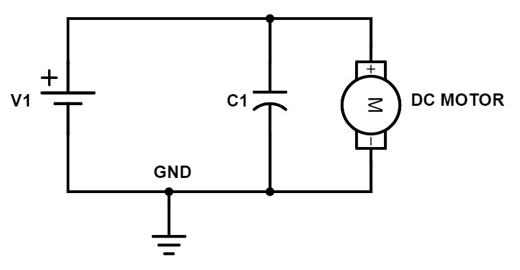 Electronic circuit: Voltage source + capacitor with motor in parallel