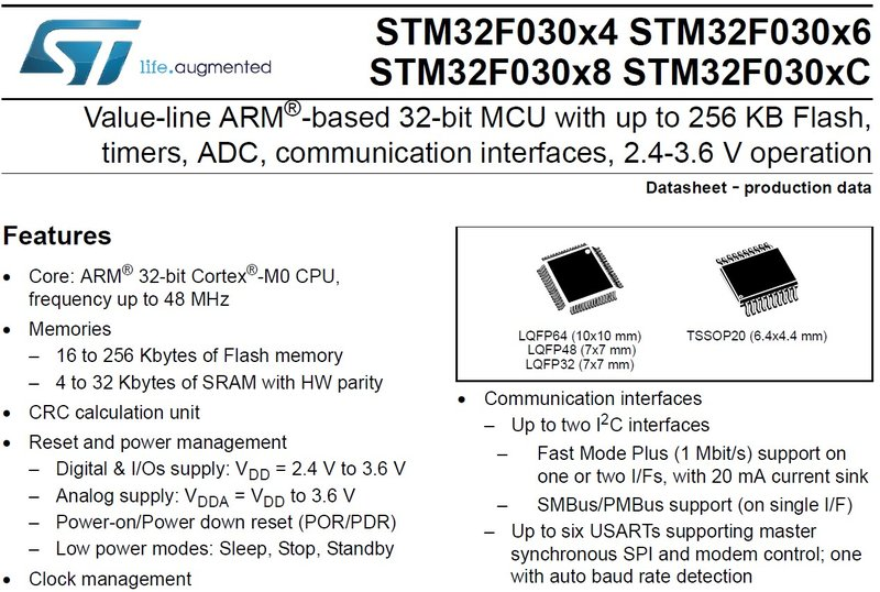 Datasheet Review: Entry-Level STM32 Cortex-M0